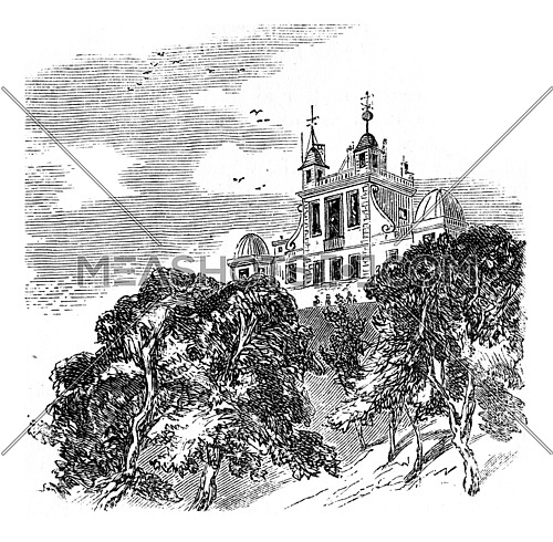 View of Greenwich Observatory, showing the signal ball at the top of dome, vintage engraved illustration.