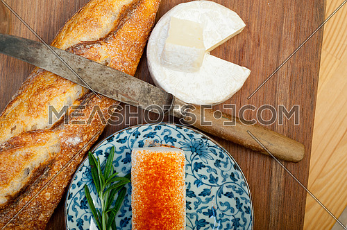 French cheese and baguette close up