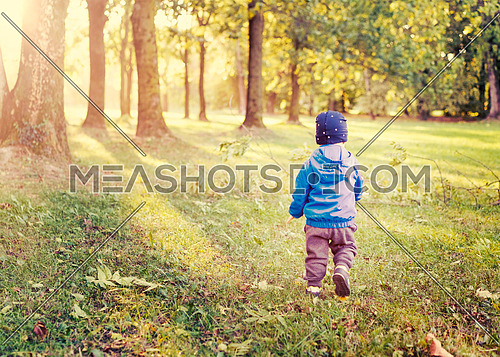 infant boy walk at sunset,ikid  in the park evening light, used split toning.