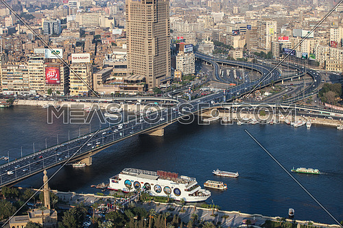 Panorama shot for traffic on 6 octobre bridge in cairo at day