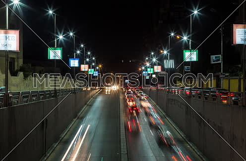Zoom OUT for traffic from above  Al Thawra Tunnel at Night