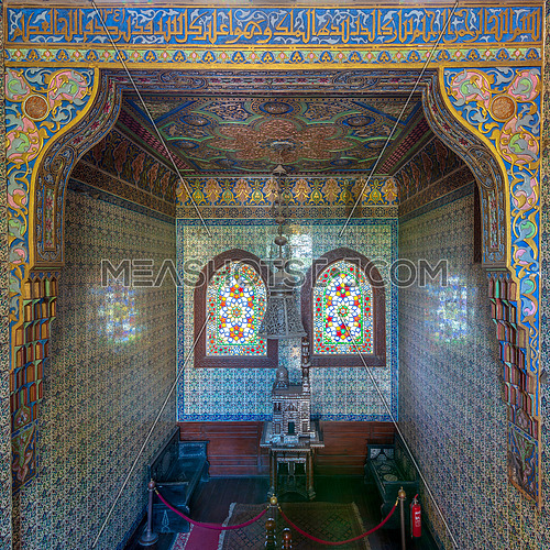 Wooden staircase, Turkish ceramic tiles wall, ornate ceiling and stained glass windows, Residence hall at Manial Palace of Prince Mohammed Ali, Cairo, Egypt