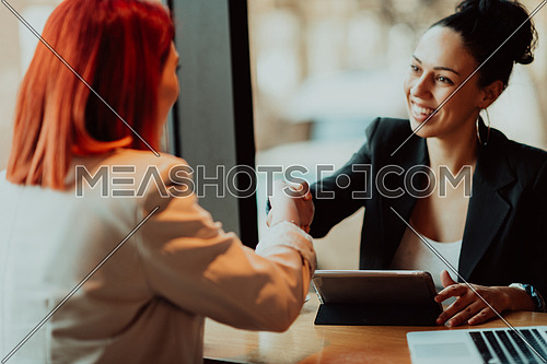 One-on-one meeting.Two young businesswomen sitting at a table in a cafe.Girl using laptop, smartphone, blogging. Teamwork, business meeting. Freelancers working.