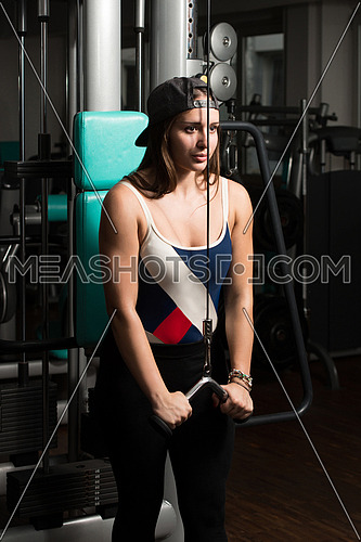 Young Woman Doing Heavy Weight Exercise For Triceps