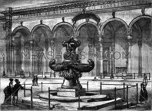 Fountain Square of the Annunziata, vintage engraved illustration. Magasin Pittoresque 1876.