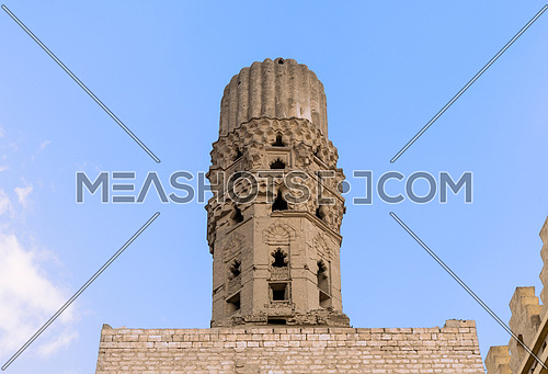Minaret of public historic Al Hakim Mosque known as The Enlightened Mosque, located in Moez Street, Old Cairo, Egypt