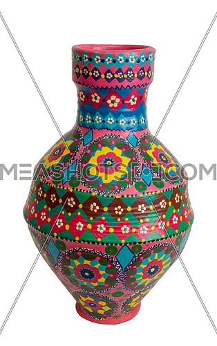 Handmade artistic pained colorful pottery vase (arabic: Kolla) isolated on white including clipping path