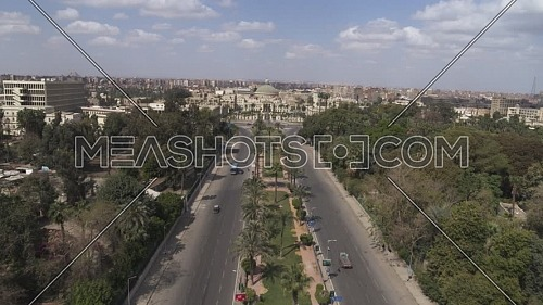 Aerial reveal shot for Cairo University at Giza during the corona pandemic lockdown by day 10 April 2020