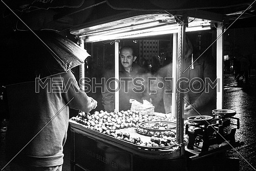 a black and white image of a Castane Seller in istanbul