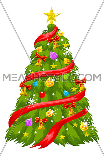 Colorful Christmas Tree, vector illustration