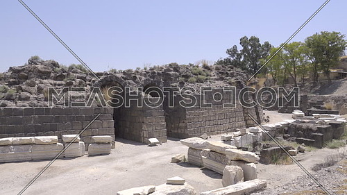 View of ampitheater ruins of the historic Beit Shean site