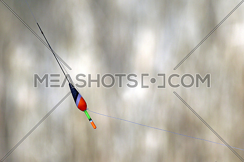 Fishing line and float with blurred reeds as a background