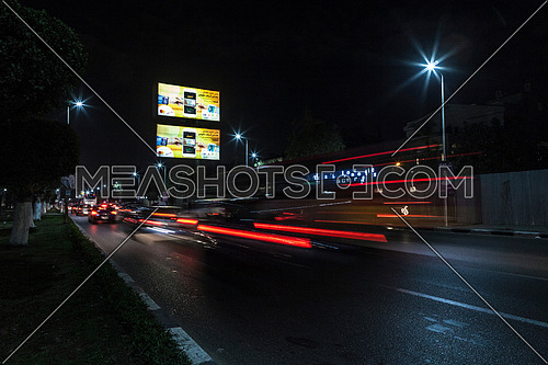 Shot for traffic at Salah Salim Street at Night
