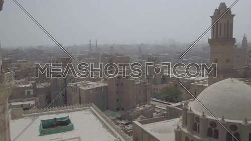 Reveal Shot for Cairo City and Al-Azhar Mosque's Minaret by day