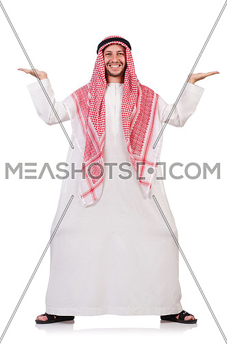 Arab man pushing away virtual obstacle isoalted on white