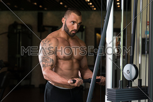 Big Tattooed Man In The Gym Is Exercising Biceps On Machine - Muscular Athletic Bodybuilder Model Exercise In Fitness Center