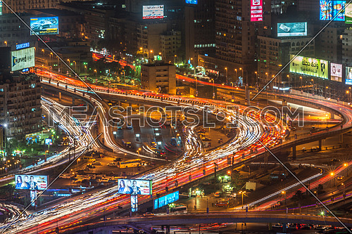 Great cairo view from Cairo tower showing traffic on 6th october bridge