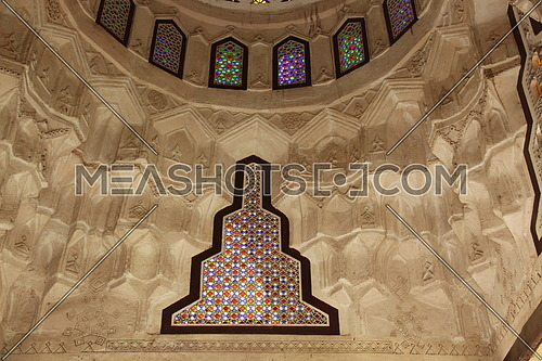 a photo for a ceiling in historical house in old Cairo showing Islamic architecture style and colors used