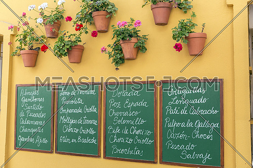 Poster of slate written with the menu typical restaurants, decoracion andalusian and pots very colorful in Cadiz, Andalusia, Spain