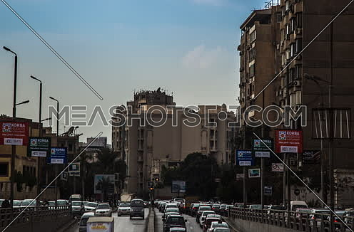 Zoom IN Left Shot for traffic from above  Al Thawra Tunnel at Daytime
