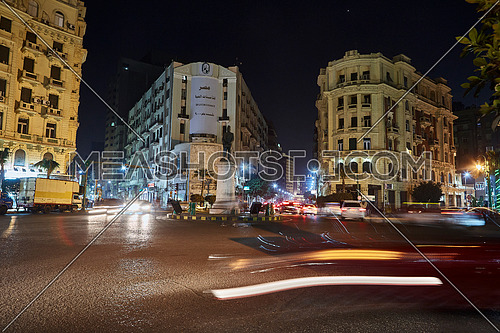 Long Shot for traffic at Talat Harb Square at Cairo at Night