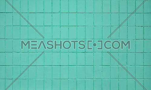 Teal blue painted ceramic tile wall pattern texture background