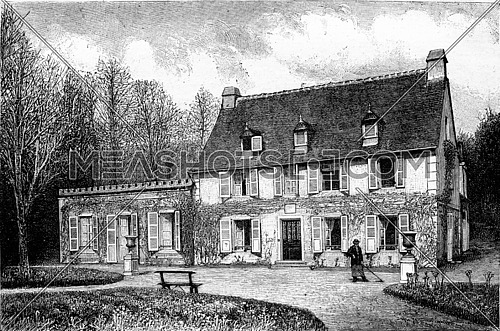 The House of the nurse of Henri IV in Billere, near Pau, vintage engraved illustration. Magasin Pittoresque 1882.