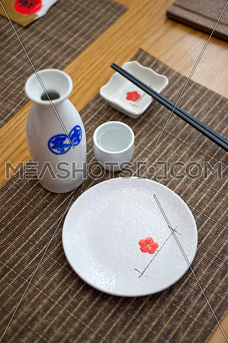 Japanese style table set and sake bottle and cup