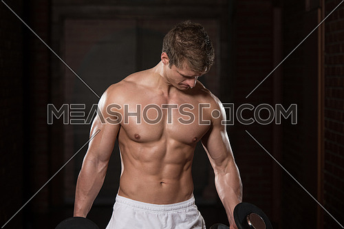 Young Healthy Man Working Out Biceps - Dumbbell Concentration Curls