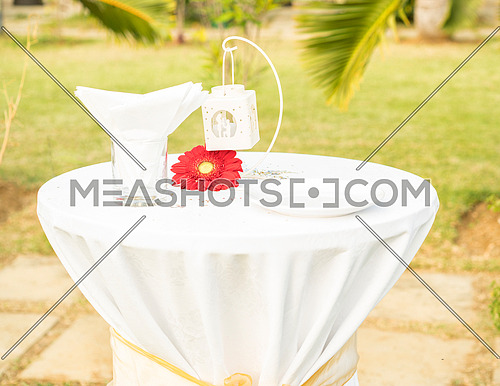 Beautiful elegant white table set for wedding or event party on table red flower, outdoor.