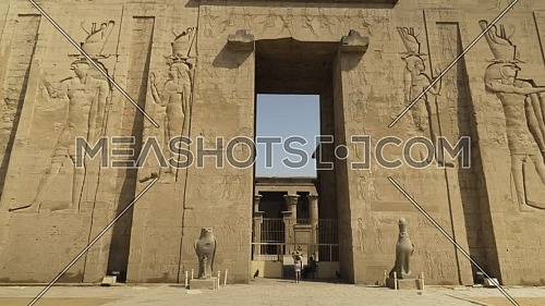 Track in for the main entrance of Temple of Edfu in Aswan - Egypt by day.
