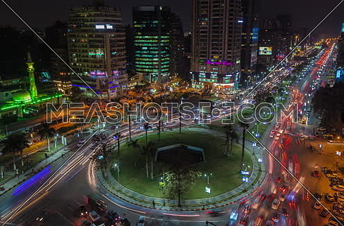 fixed shot for traffic in Moustafa Mahmoud Square at Cairo at Night