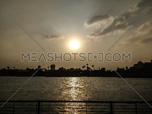 Long Shot for the sunset at the River Nile in cairo
