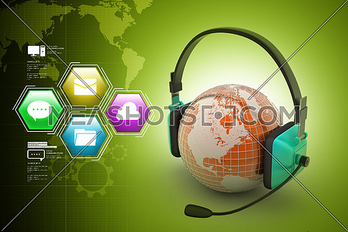 Headset with world globe. Concept for online chat