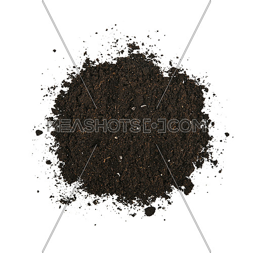 Close up one heap of black humus soil isolated over white background, elevated top view, directly above