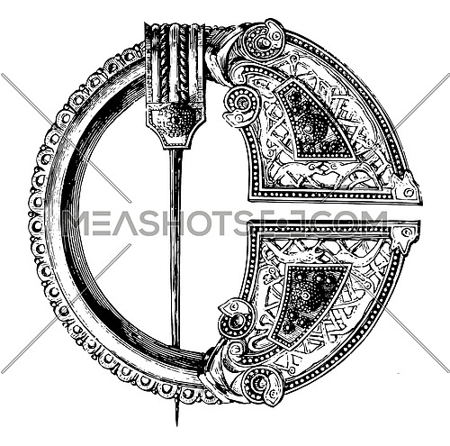 Royal Tara Brooch is made out of bronze with niello, vintage line drawing or engraving illustration.