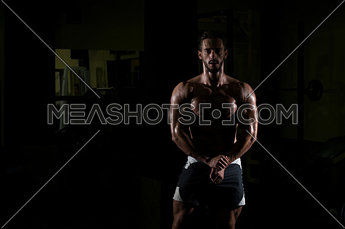 Siluet Portrait Of A Physically Fit Man Showing His Well Trained Body