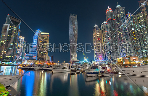 Dubai Marina Skyline Night View