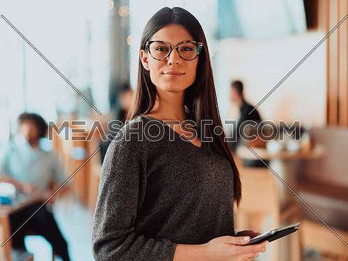 Portrait of happy smiling beautiful businesswoman holding tablet