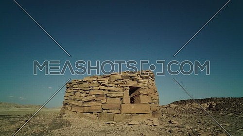 Revealing shot for the Stone houses Called Nawamis area from Sinai Trail at day.