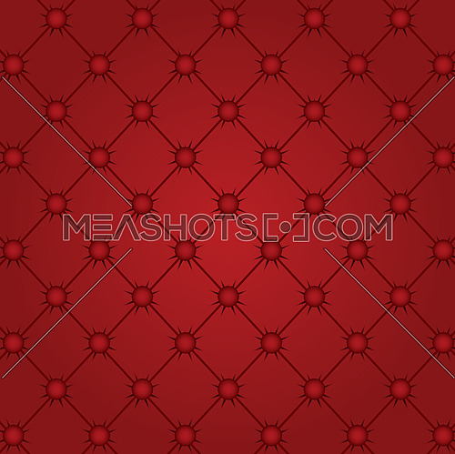 Vector illustration of red capitone textile background, retro Chesterfield style checkered soft tufted fabric furniture diamond pattern decoration with buttons, close up