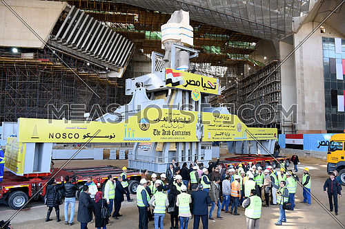 King Ramses II Statue on Tranfering process to the Grand Egyptian Museum in Cairo showing big transfer machine carrying the statue. on 25 January 2018
