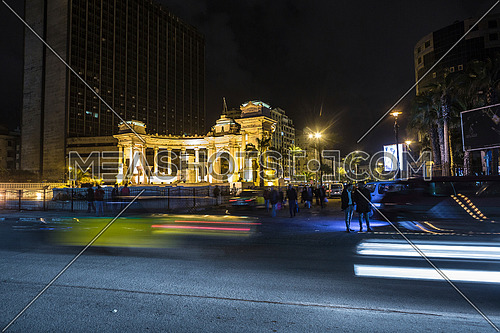 Long shot for traffic at Alexandria Naval Unknown Soldier Memorial at night