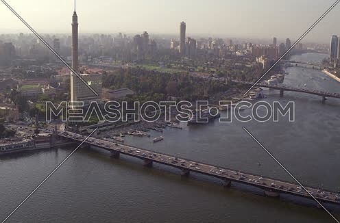 Aerial Shot for Cairo Tower Kasr Al Nile Bridge at Cairo at Day