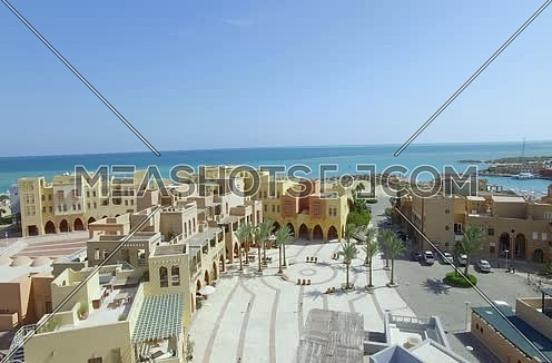Jib Up using Drone shot flying above Al Gouna  at Day