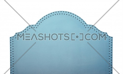 Pastel blue soft velvet fabric shaped bed headboard isolated on white background, front view