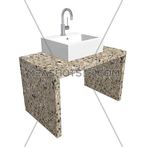 Modern bathroom sink set with ceramic or acrylic wash basin, chrome fixtures, and marble base, 3d illustration, isolated against a white background