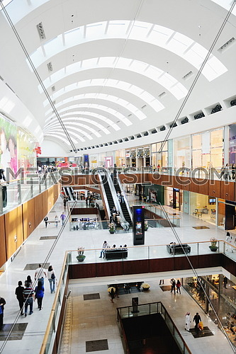 Interior of a modern shopping mall center