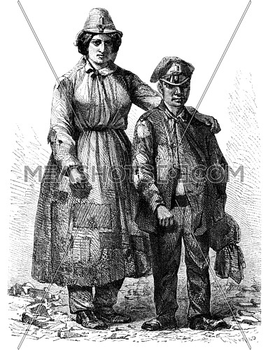A woman and a young worker of mine in Pontypool, vintage engraved illustration. Le Tour du Monde, Travel Journal, (1865).