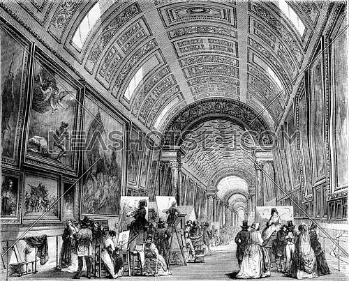 The large gallery one day study, Louvre Museum, vintage engraved illustration. Magasin Pittoresque 1844.